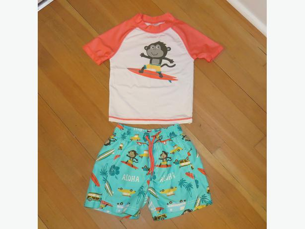 Carter's Size 2T Boys Bathing Suit (Sun Shirt and Swim Shorts) Surfing Monkeys