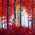 Misty Forest Red- Original Oil Painting