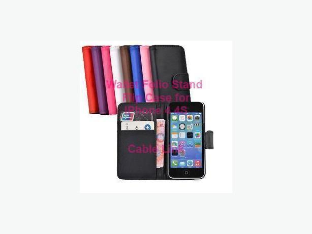 Wallet Flip Leather Stand Case Cover For Apple iPhone 4 4S