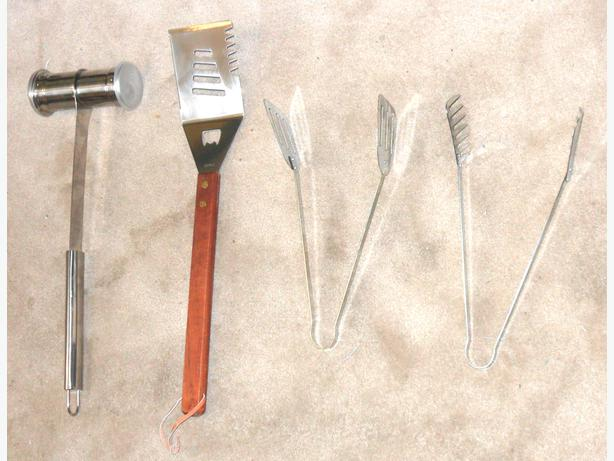 4 New, Never Used, Stainless Steel BBQ Tools