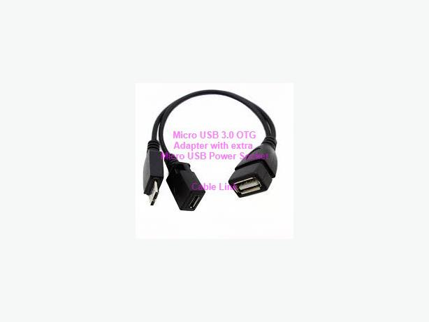 Micro USB 3.0 OTG Adapter Cable with extra Micro USB Socket