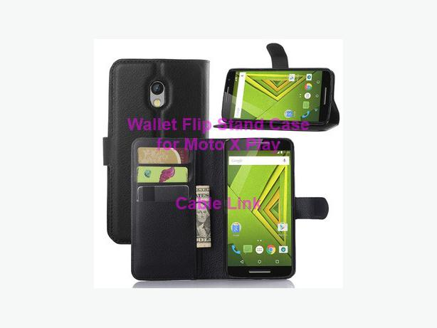 Wallet Flip Stand Leather Case for Motorola Moto X Play X3