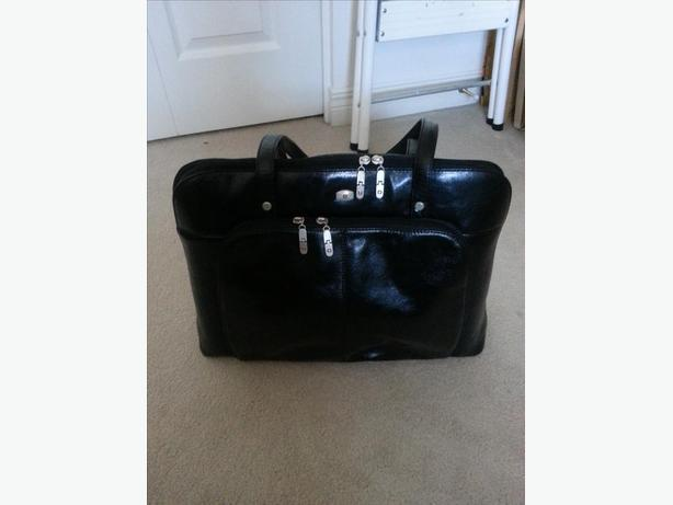 Womens' black leather briefcase