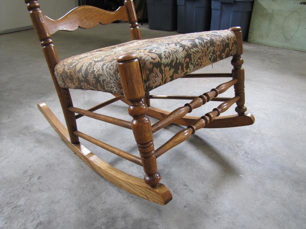 Antique Oak Ladder Back Nursing Rocking Chair