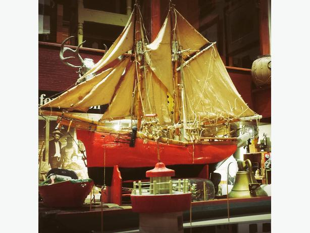 Large antique folkart sailing ship