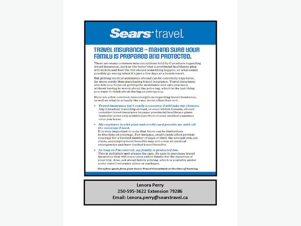 Sears Travel is one of Canada's leading travel agencies specializing in vacation and leisure travel throughout offices in Sears department stores across Canada. The company also provide Travel Insurance, Finance Options and Insurance Options.