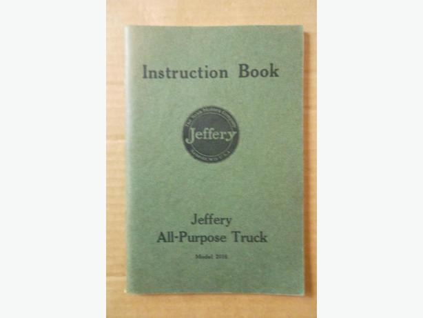 1916 1917 Jeffery Truck Instruction Book