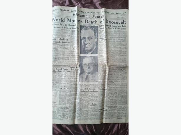 1945 Edmonton Journal - Death of Franklin D. Roosevelt
