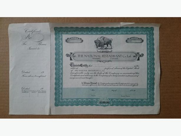The National Restaurant Co. Ltd. Stock Certificate