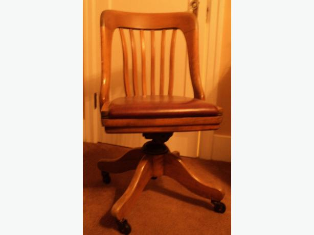 H. Krug 1950's swivel office chair with leather seat Oak Bay ...