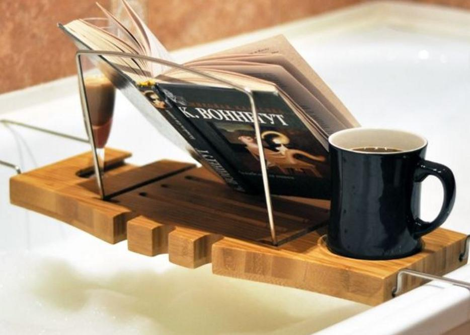 Bamboo Bath Tray Caddy With Wineglass Holder And Book Rest Victoria City Victoria