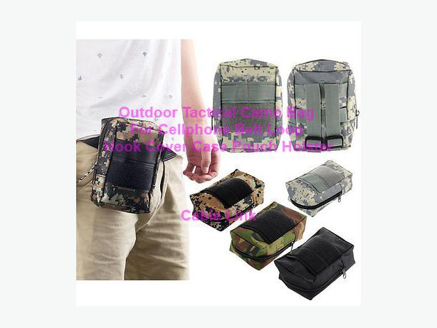 Outdoor Tactical Camo Pouch For Cellphone With Belt Loop Hook