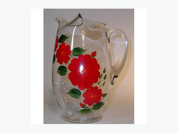 Vintage Glass Pitcher with Flowers