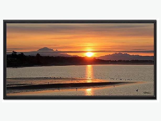 "Sunrise at White Rock Beach BC - 24"" x  48"" Framed Canvas print"