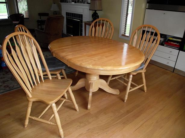 Oak dining room table and four chairs saanich victoria for Dining table without chairs