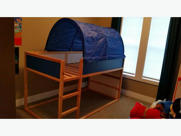 Ikea reversible loft bunk bed with canopy kids maple bay for Reverse loft bed