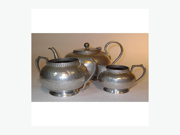 English Pewter Teapot, Cream and Sugar