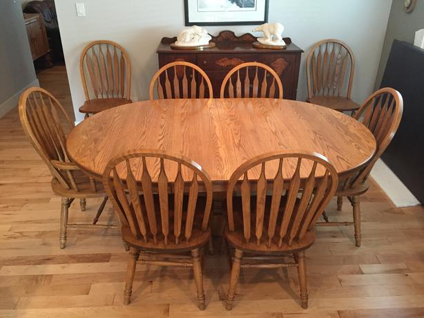 Oak Dining Room Table And 8 Chairs Malahat (including