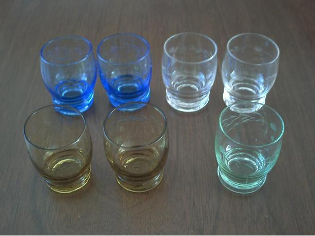 7 colored glass shot glasses