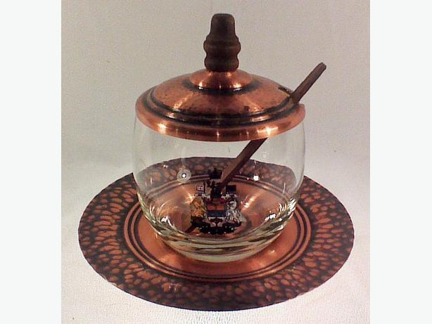 Vintage 50s copper & glass condiment set