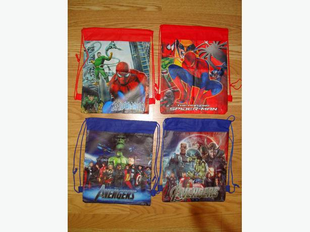 4 Brand New Superhero Spiderman Avengers Double Sided Drawstring Bags - $3 each!