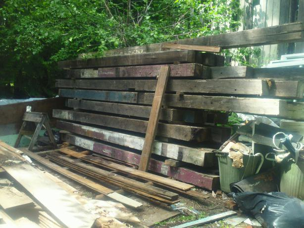 8 x 8 beams many lengths old growth painted.