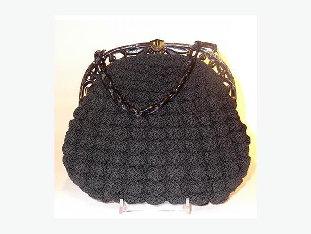 Vintage Black Crochet Clutch