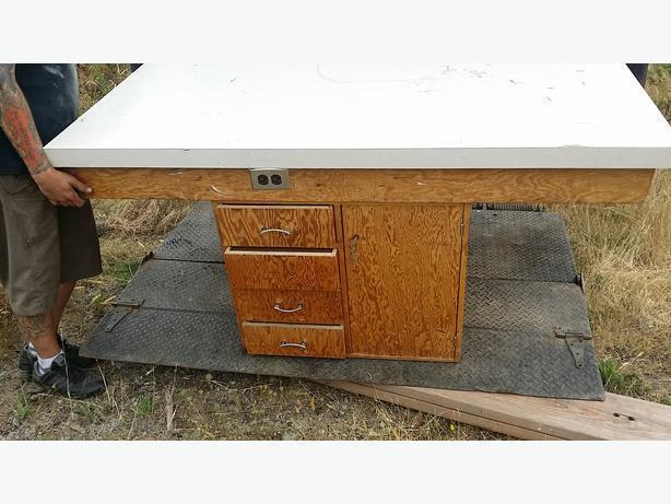 work table w arborite top sewing, crafts, drawers cupboards 2 sides