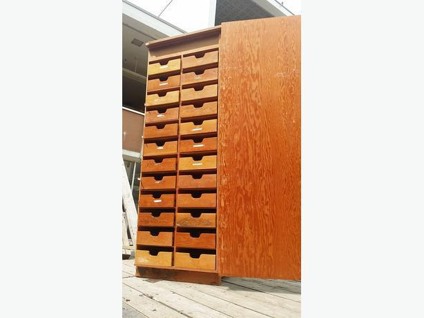 Plywood construction 24 drawer storage cabinet/pantry from oak bay High