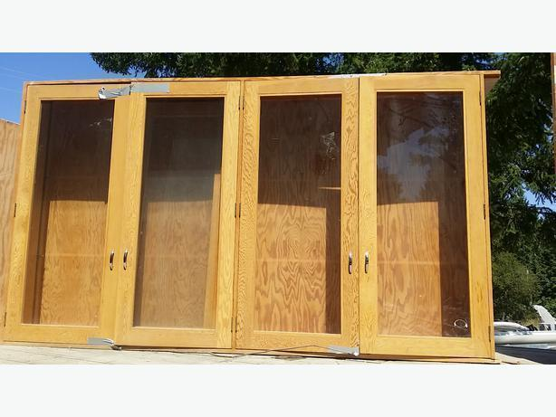Large Plywood Glass Doored Cabinets 96 x 46 x 12