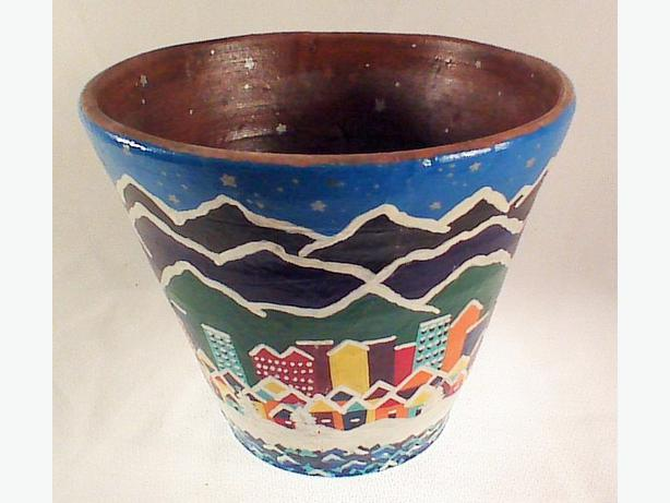 Handpainted terracotta planter pot