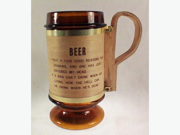 Glass tankard wooden handle