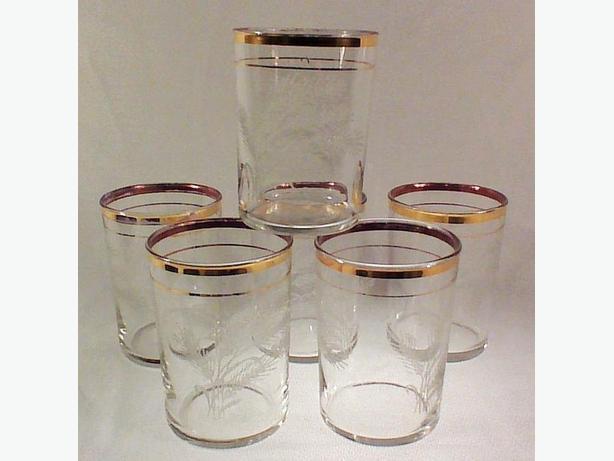 Gold trimmed etched glasses