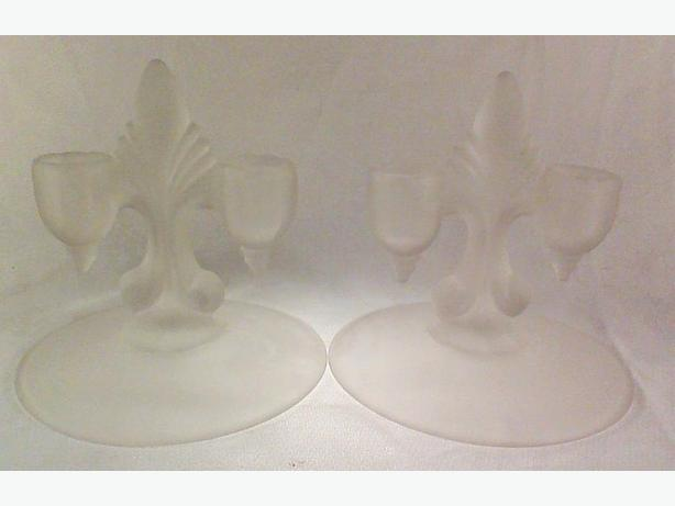 Satin glass candleholders double-light