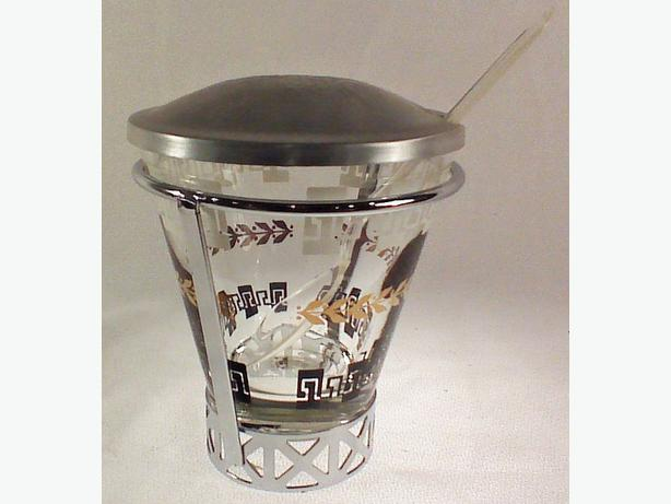 Glass & aluminum condiment jar