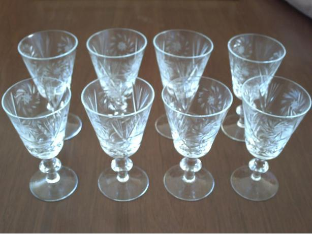 8 cut glass wine glasses