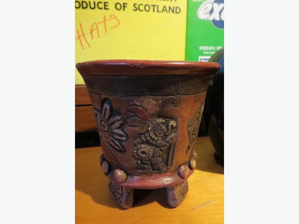2 Clay Decorative Vases