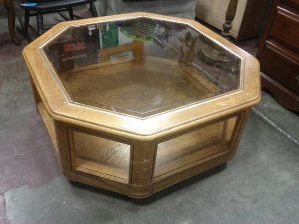 Glass Top Octagon Coffee Table