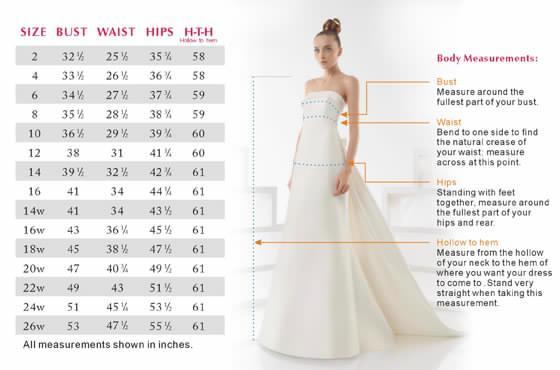 size chart wedding dresses: Size chart for pronovias wedding dresses street sizing guide