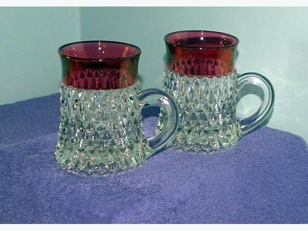 CRANBERRY CROWN GLASS - 6 pieces