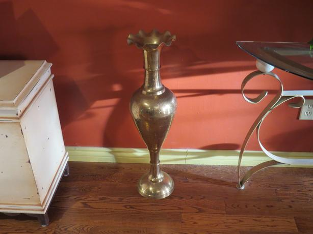 Huge solid brass vase