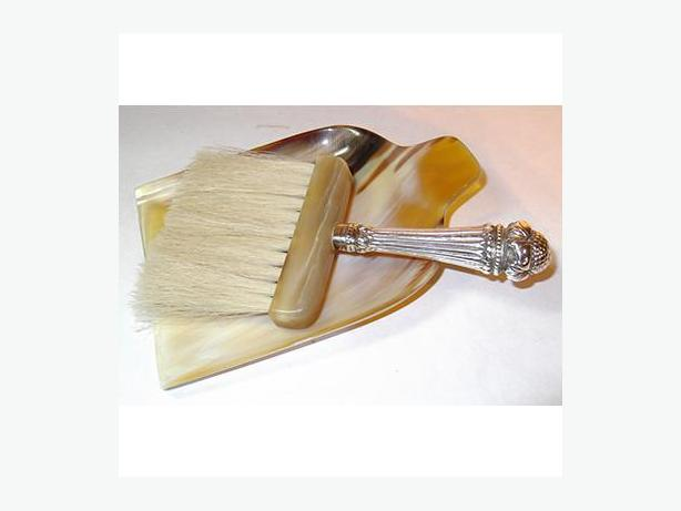 Sterling-Handled Crumb Brush With Tray