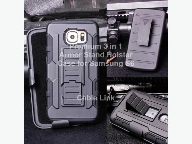 Premium 3 in 1 Armor Hybrid Stand Holster Case for Samsung S6