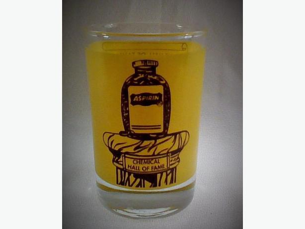 Aspirin Chemical Hall of Fame 4-ounce advertising glass