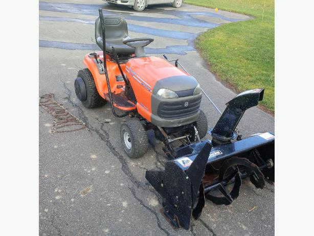 Husqvarna Lawn Tractor Snow : Husqvarna yth xp tractor with snow blower outside