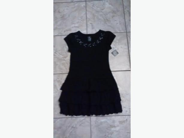 Brand New - Girl's Black Cotton Dress - Size M/M (10/12)