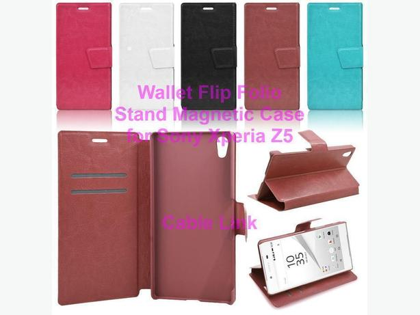 Magnetic Leather Wallet Stand Case For Sony Xperia Z5
