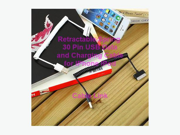 Retractable 30 pin USB Data and Charing Cable for IPhone IPod