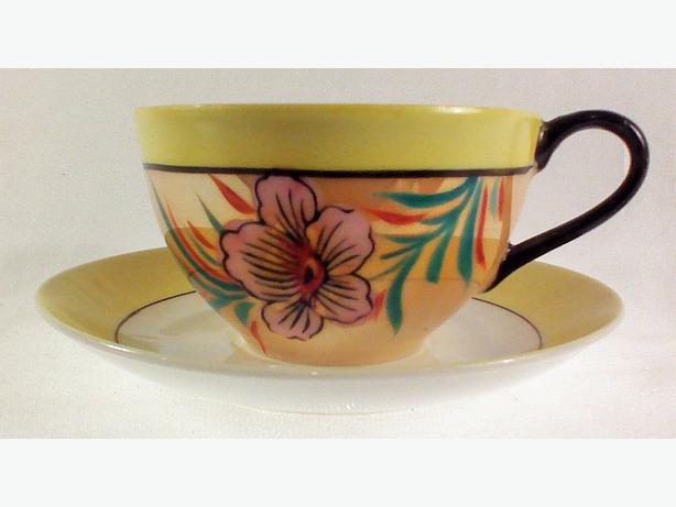 Handpainted hibiscus teacup & saucer