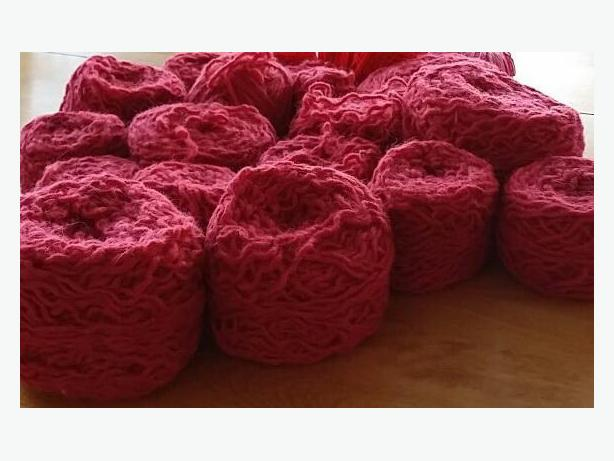 Cherry Red Colored Yarn